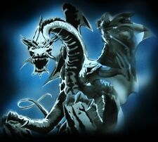 NEW! WHITE DRAGON Airbrushed Black T-shirt design, Any size up to 6X