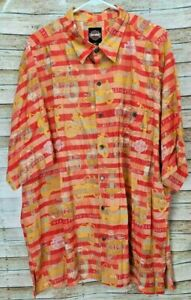 XXL Harley Davidson Motorcycle Bike Orange & Red Hawaiian Button Down Shirt