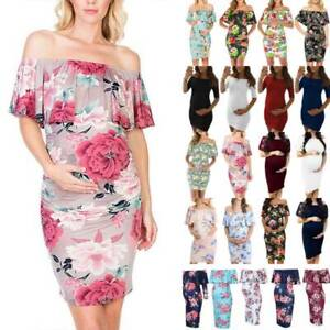 Pregnant Maternity Summer Dresses Womens Off Shoulder Floral Dress Gown Party