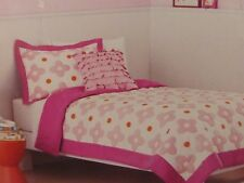 2 pc Circo Pink Flower Dot Collection Twin Quilt and Sham Set NIP