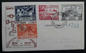 SCARCE 1949 Northern Rhodesia UPU 75th Anniv FDC ties 4 stamps Livingstone