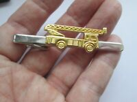 Vintage Tie Clip Silver Tone Bar Fire Engine Truck Mens Jewellery Slide Tie Clip