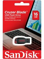 NEW SanDisk 16GB Cruzer Blade CZ50 USB 2.0 Flash Memory Stick Pen Drive