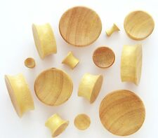 "Pair 9/16"" 14mm Yellow Jackfruit Organic Wood Concave Single Flare Ear Plugs 899"