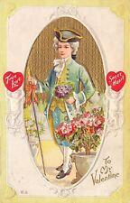 Valentine~Regency Gentleman~Walking Stick~Bouquet~White Emboss Cupid~Nash Ser 29