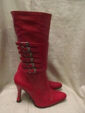 Cuir Rouge Bottines Taille 3 Par Jonny WOW