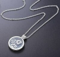 Silver Floating Locket Petites Necklace With Clear Cubic Zirconia Glass