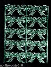 Bows Ribbon Turquoise Card Paper Embossed Scrap Dresden Germany Ornament Gift