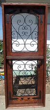 RUSTIC SOLID wood DUTCH DOOR shelf reclaimed lumber wrought iron tempered Glass