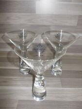 3 X fabulous vintage Smirnoff Black Vodka crystal Martini glasses as new !