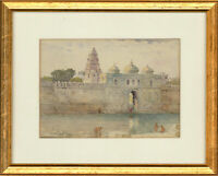 E. G - Early 20th Century Watercolour, Indonesian Temple By The River