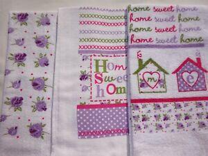 3 x 100% Cotton Tea Towels  Modern Design Home Sweet Home Pinks, Lilac, Greens