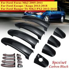 8x/Set Carbon Black 4 Door Handle Cover For Ford Focus/Escape/Kuga  W