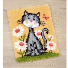 CAT WITH FLOWERS LATCH HOOK RUG KIT from UK Seller, BRAND NEW