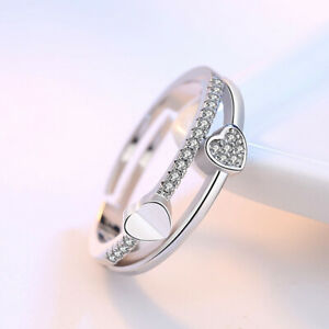 Adjustable 925 Sterling Silver Ring Thumb Ring Knuckle Wishbone Heart Ring Gift