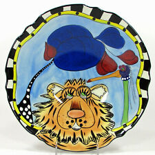 """Lynda Corneille Swak Walter The Tiger & Bird 13"""" Footed Scalloped Bowl Striped"""