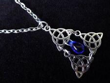 Pendentif triquetra triple avec verre Bleu Droplet Wicca déesse Collier Argent