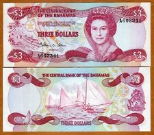 Bahamas, 3 dollars, L. 1974 (1984), Pick 44, QEII, UNC