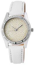 Damenuhr Weiß Silber Strass Perlen Analog Leder Armbanduhr D-195022000222600