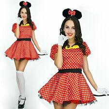 Adults Womens Minnie Mouse Girl Costume Fancy Dress Outfit + Underskirt