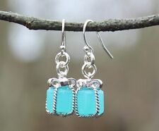 Tiny Present Earrings - Aqua blue gift box pendants on sterling silver hooks