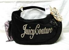 $195 Authentic JUICY COUTURE Black Velour Leather Floral Hobo Bag Tote Purse New