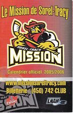 2005-06 SOREL-TRACY MISSION HOCKEY POCKET SCHEDULE