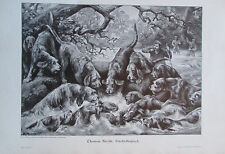 Thomas Smith: Fischotterjagd - alter Druck aus ca. 1899 Lithografie old print