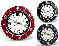 Orologio da Parete Muro in metallo ROLEX Style Tre Sfere Quadrante Bianco 34 cm.