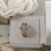 Vintage Jewelry Gold Ring with Aquamarine White Sapphires Deco Jewellery size K