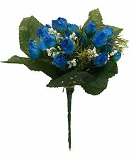 Mini Rose Bush Royal Blue 21 Roses ~ Silk Wedding Flowers Bouquets Centerpieces