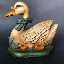 Cast Iron Duck Doorstop/ White Duck with Three Yellow Ducklings/ Spring Decor