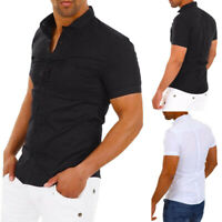 Fashion Men's Slim Fit V Neck Short Sleeve Muscle Tee T-shirt Casual Tops Blouse