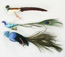 Peacock Feather Bird Clip-On Fabric Glass Christmas Ornament Holiday  Lot 3
