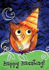 """Large Halloween Garden Flag """"Happy Haunting"""" with Owl in Hat 28"""" x 40"""""""