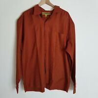 Vintage GUESS USA Mens XXL Orange Copper Sticky Tab Closure Dress Shirt
