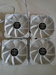 4 rgb fans new Corsair 120mm white  Case Fan 12V DC , 4 Pin 0.3A