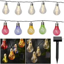 Solar Fiesta Lichterkette Con 10 LED Bombillas de Luz 3,8m para Balcón & Jardín