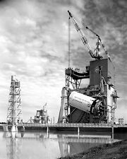 SATURN V ROCKET S-II STAGE HOISTED ON A-2 TEST STAND - 8X10 NASA PHOTO (BB-159)