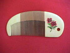 "4.65"" ARTISTIC  WOOD COMB W/HAND PAINTED FLOWERS-CUTE! UNIQUE! COMBINE SHIPPING!"
