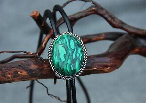 "Malachite Stone Mens Bolo Tie Wedding Necklace 40"" Leather Western Cowboy Native"