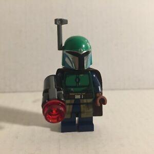 Authentic Lego Star Wars Green Mandalorian Lego Minifigure with Blaster