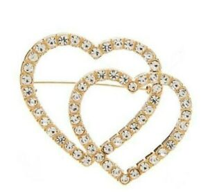 Crystal Double Hearts Rhinestone Brooch Pin NEW w Box LOVE Valentines Gold Tone