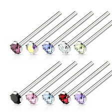 "10pcs LONG 3/4"" Fishtail Prong Set Gem 18g Nose Rings Wholesale Body Jewelry"