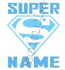 IRON ON TRANSFER PERSONALISED SUPERMAN symbol BLUE BABY BOY 12x15cm