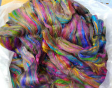 100g High Quality Recycled Sari Silk Sliver Tops For Felting Spinning Multicolor