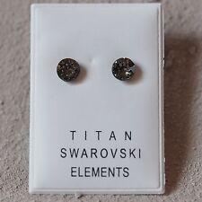 NEU Titan OHRSTECKER 6mm SWAROVSKI STEINE black diamond/schwarz-grau OHRRINGE