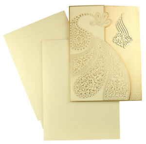 Personalized Printing Muslim Wedding Invitation Scrolls Cards With Envelope