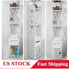 Tall Bathroom Toilet Caddy Storage Rack Cabinet Shelf Organizer Paper Holder Us