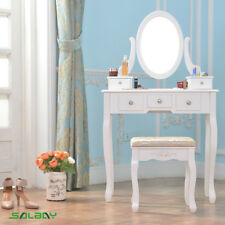 White Dressing Table Makeup Desk with Stool 5 Drawers Oval Mirror for Bedroom